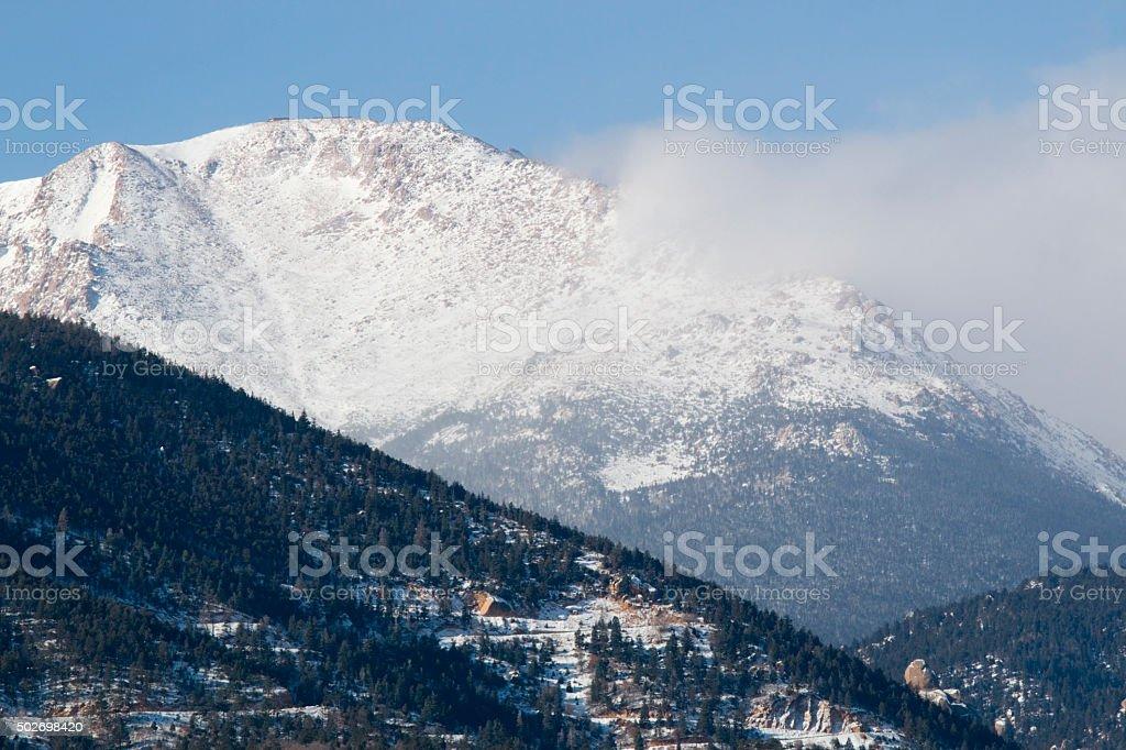 Winter Weather on Pikes Peak Colorado stock photo