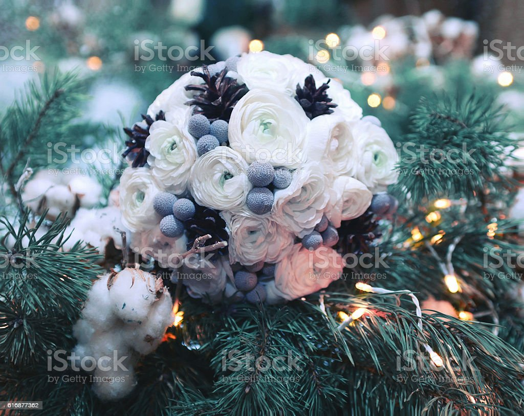 winter wedding bouquet flowers decorated cones on branch christmas tree royalty-free stock photo