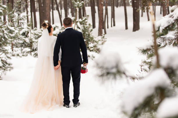 Winter wedding. Bride and groom hold hands and look at the snowy forest stock photo
