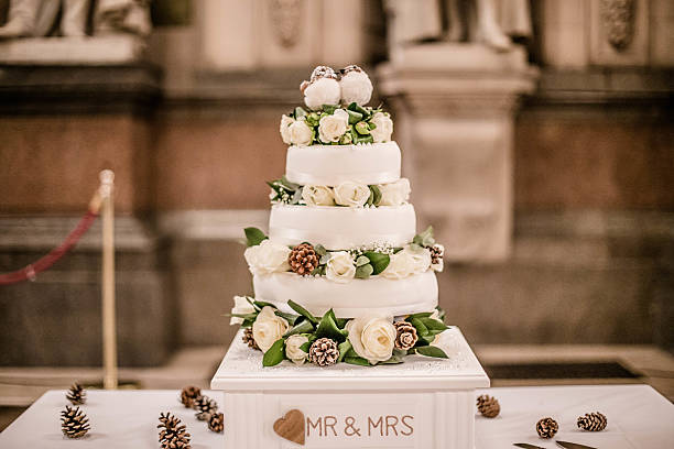 Winter White Wedding Cake stock photo