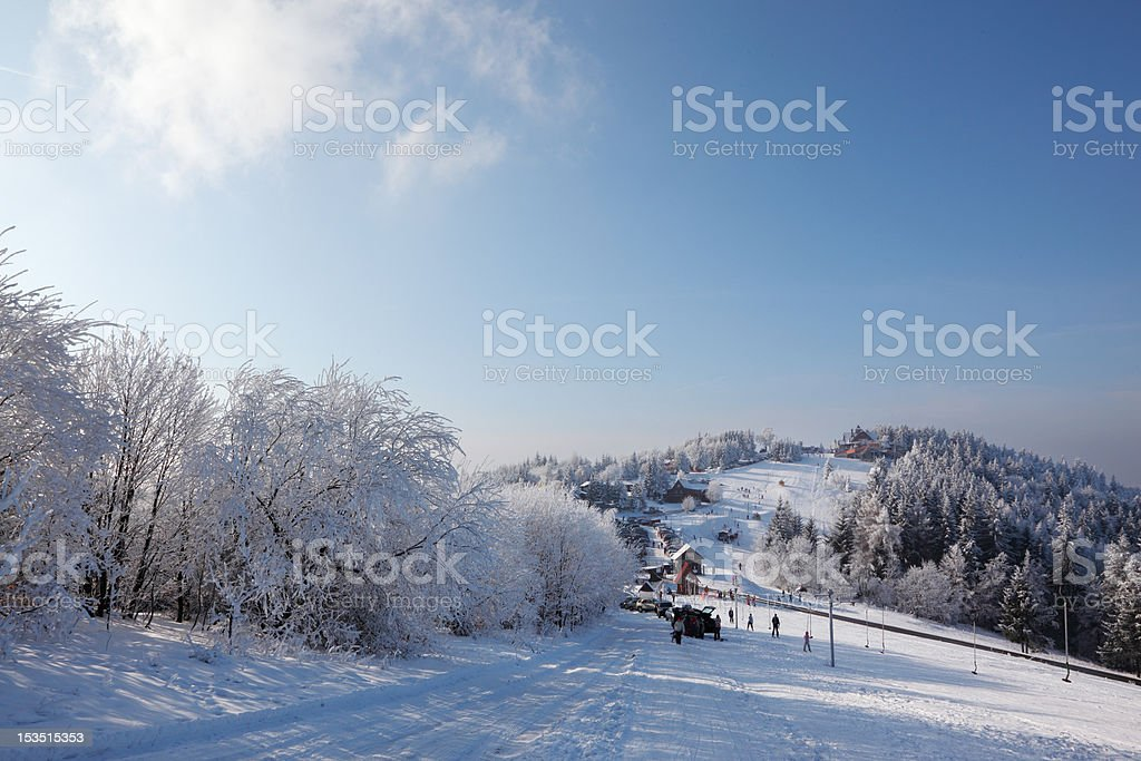 Winter wide ski track. royalty-free stock photo