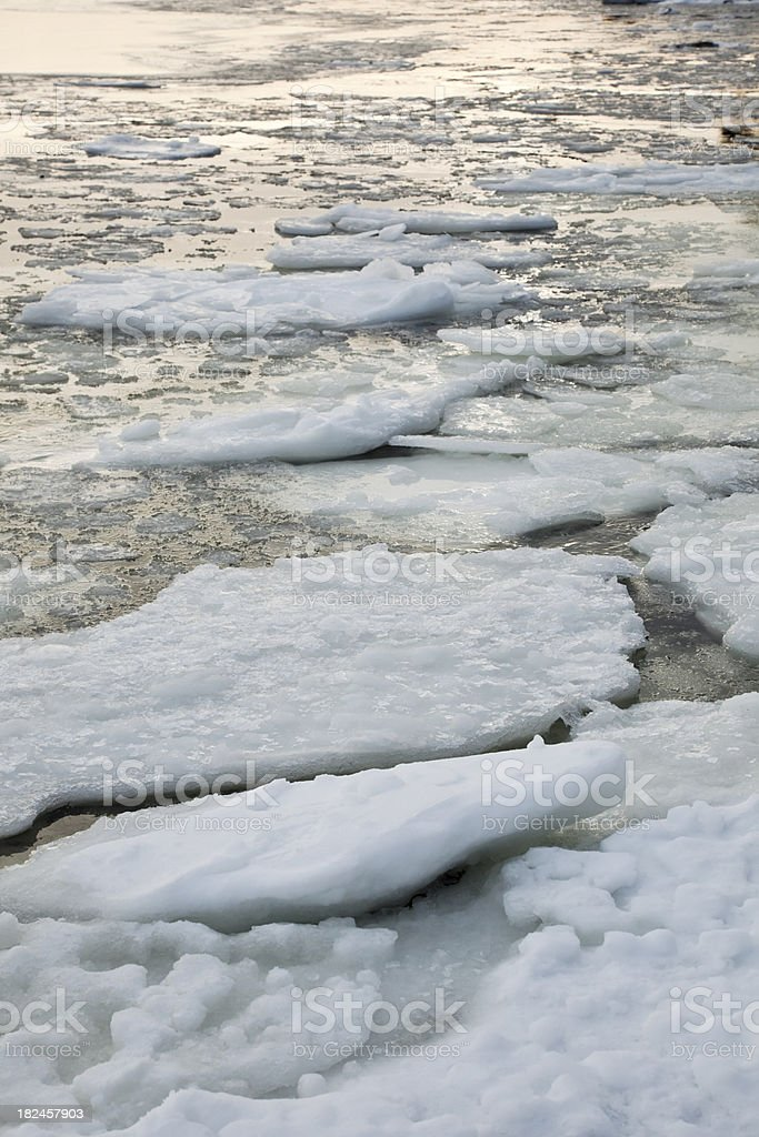 Winter with ice flows in the water. royalty-free stock photo
