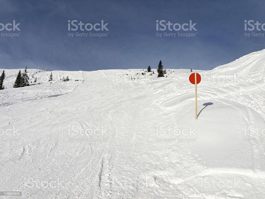 winter with ski slope in Alps Vorarlberg Austria royalty-free stock photo