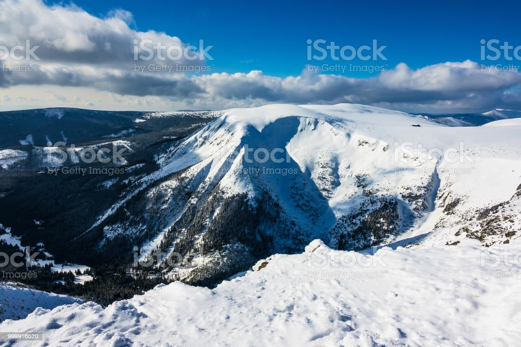 Winter with snow in the Giant Mountains, Czech Republic Winter with snow in the Giant Mountains, Czech Republic. Blue Stock Photo