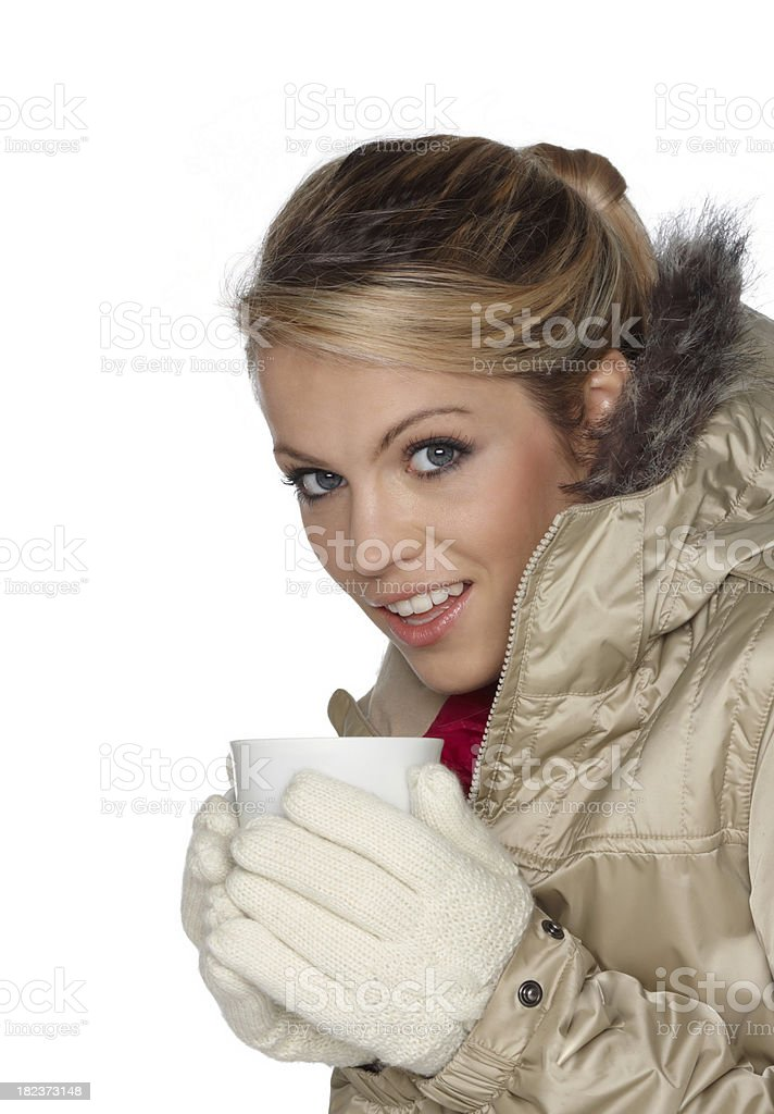 winter woman drinking a cup of coffee royalty-free stock photo
