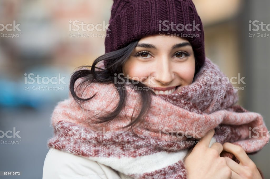 Winter woman outdoor stock photo