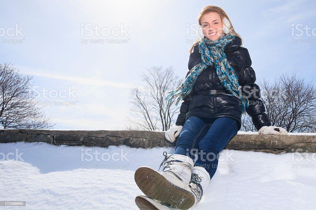 Winter Woman - Sit royalty-free stock photo