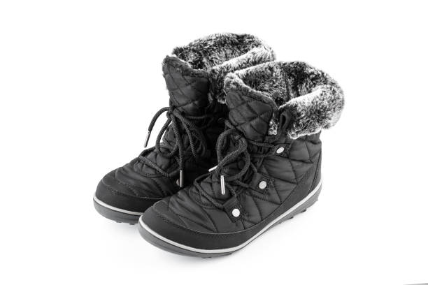 winter women's boots snowmobiles with fur - mockup outdoor rain foto e immagini stock