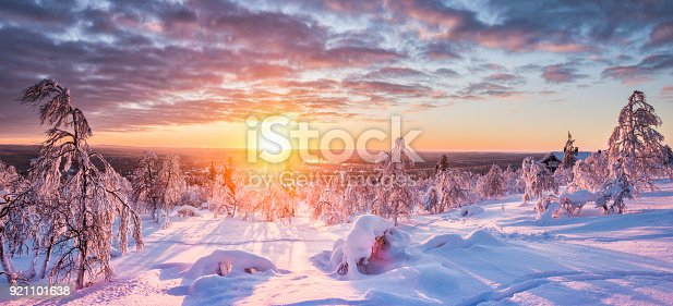 istock Winter wonderland in Scandinavia at sunset 921101638