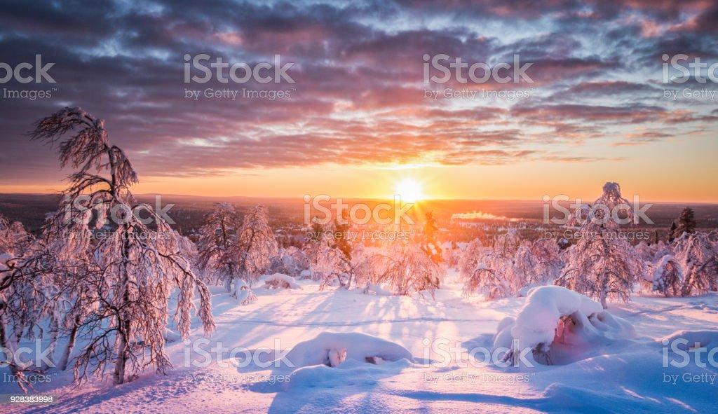 Winter wonderland in Scandinavia at sunset stock photo