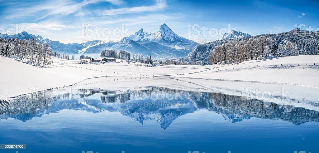 Panoramic view of beautiful white winter wonderland scenery in the...