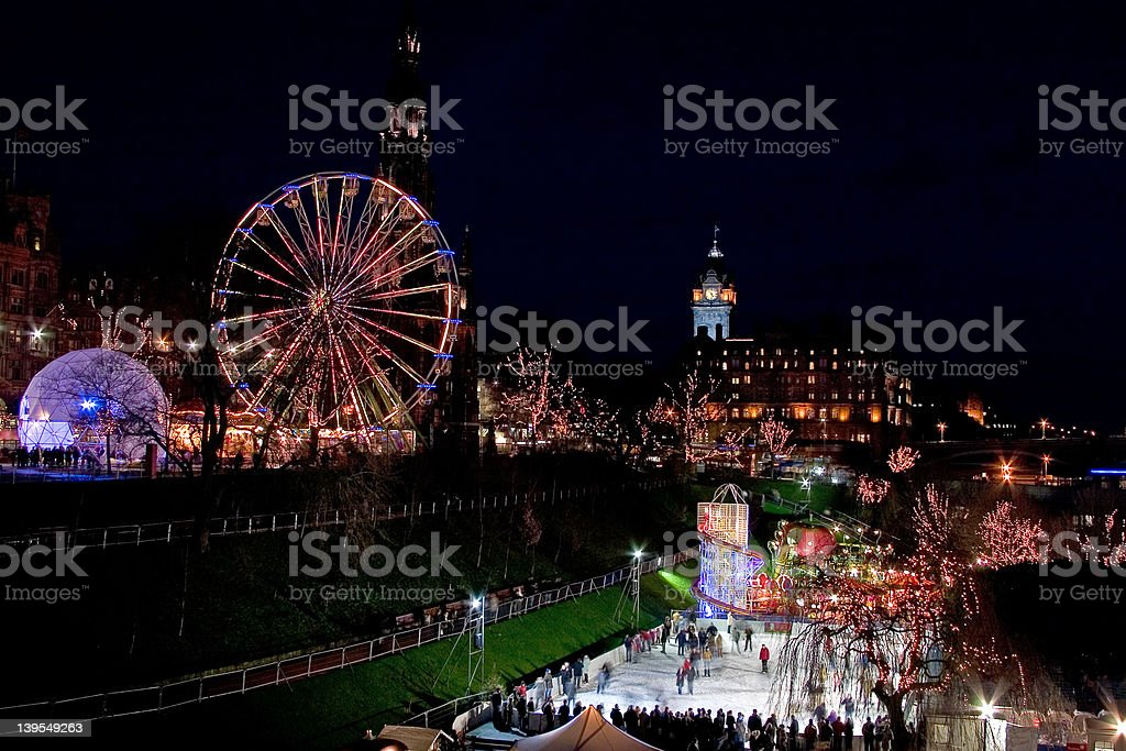 Winter Wonderland Fair and open air ice rink in the centre of Edinburgh in winter Celebration Stock Photo