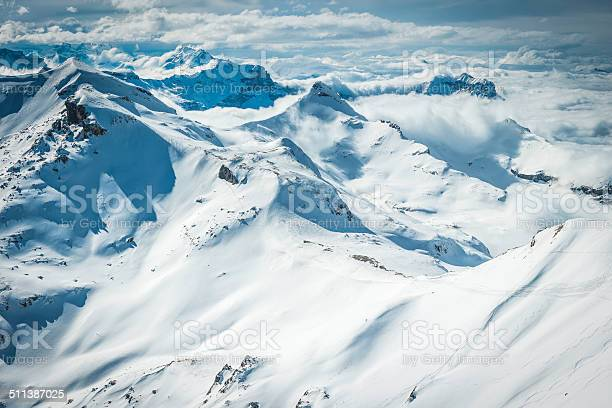 Photo of Winter wonderland waves of snowy mountain peaks above clouds Alps