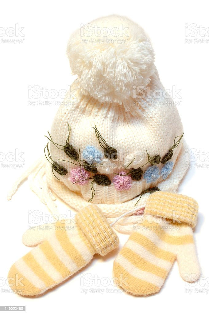 Winter wool knitted cap and mittens. stock photo