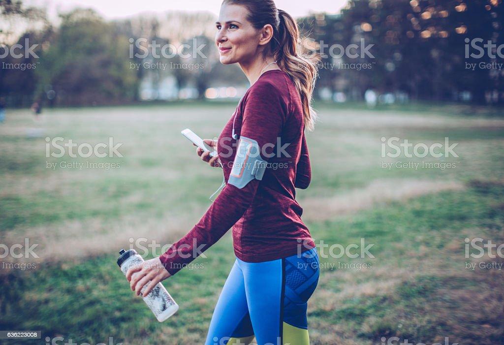 Winter workout stock photo