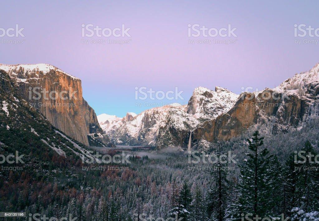 Winter Yosemite – Tunnel View stock photo