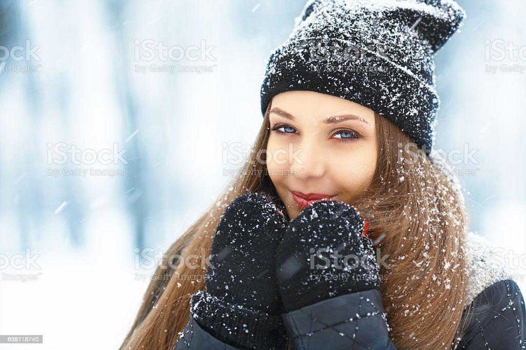 Winter young woman portrait. Beauty Joyful Model Girl laughing and stock photo