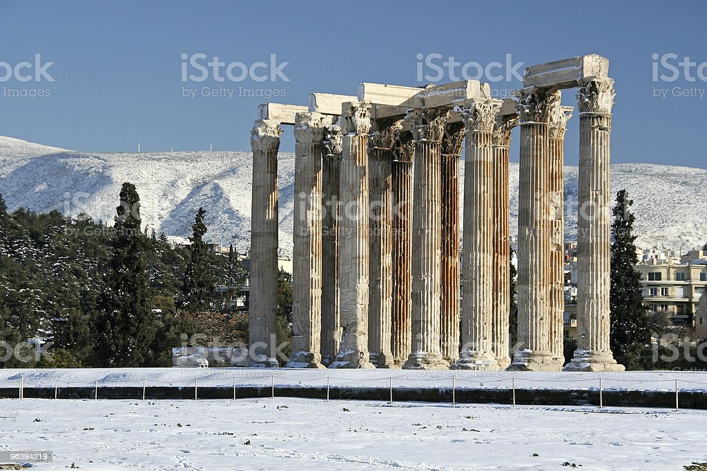 Winter Zeus Olympius Temple stock photo