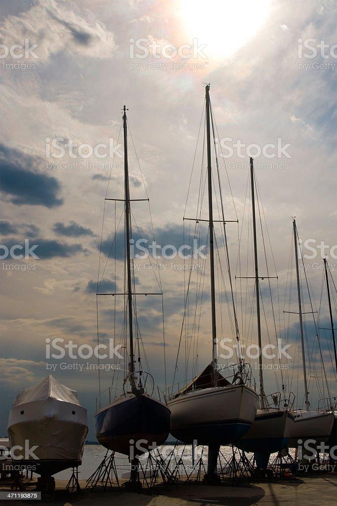 Winterized pleasure boats stock photo