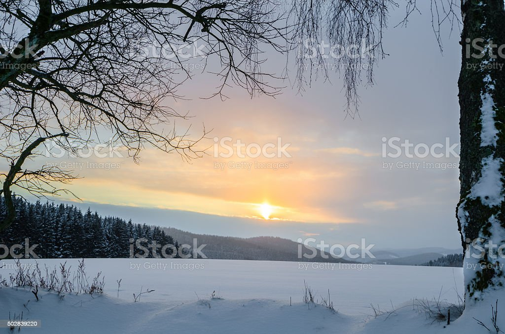 Winter-Landscape at sunset, HDR stock photo