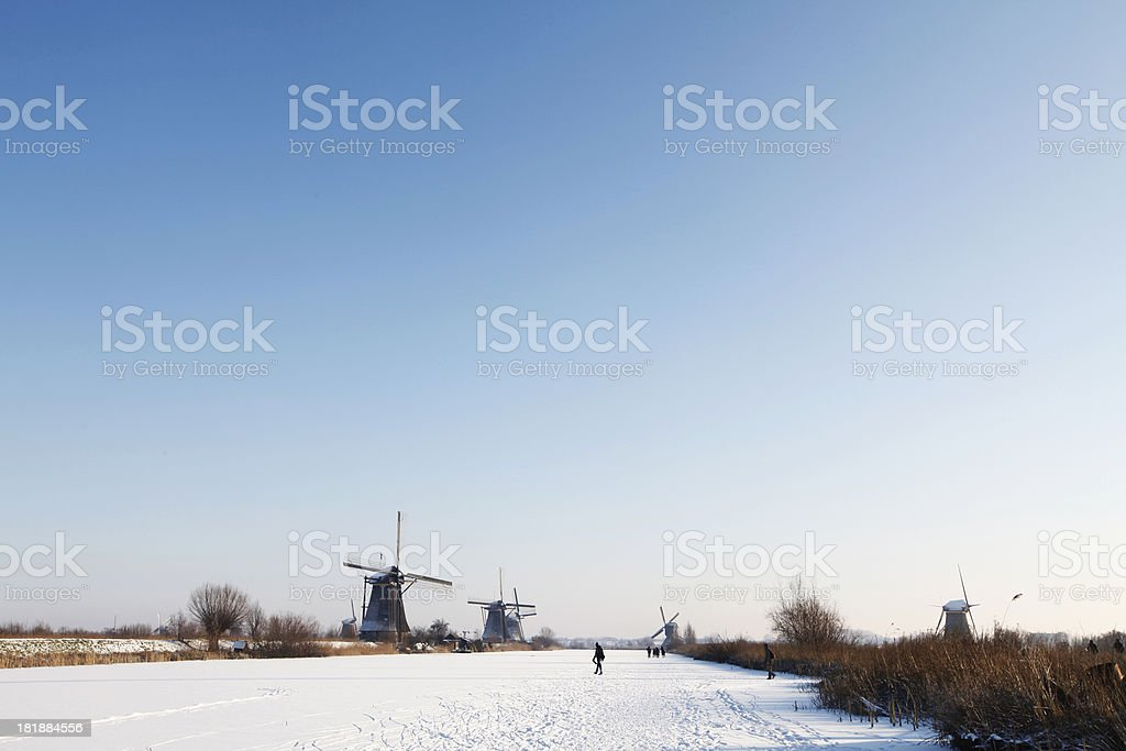 Winterlandscape in a Dutch setting. royalty-free stock photo