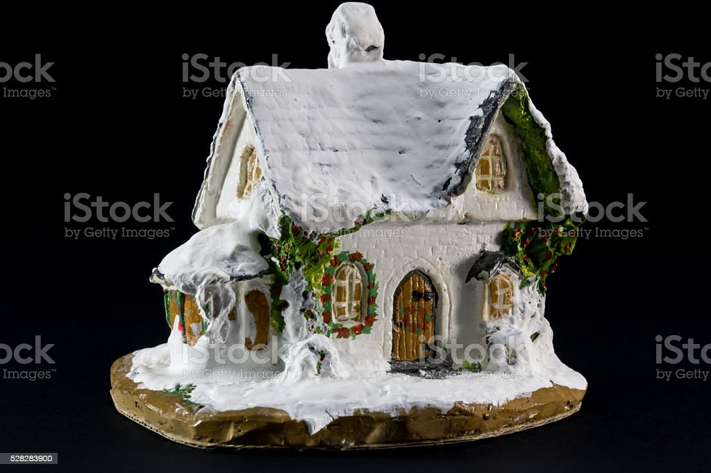 Winters Christmas Decoration With Small Toy Ceramic House Stock