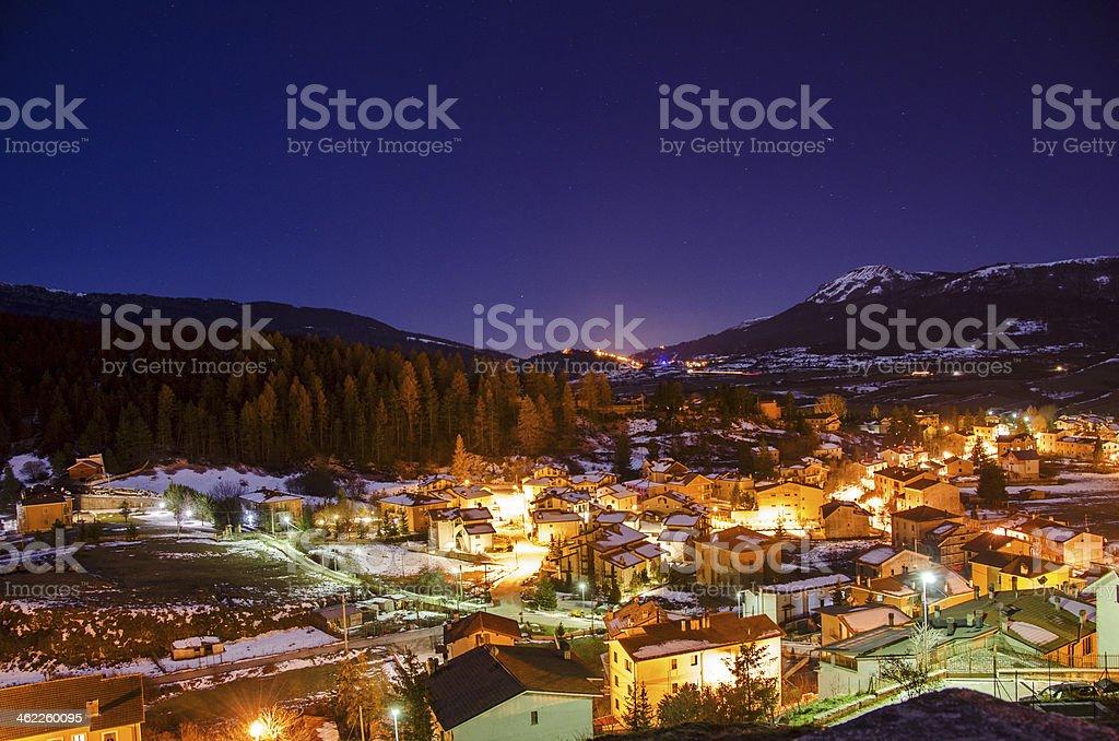Winter's night in Abruzzo, Italy stock photo