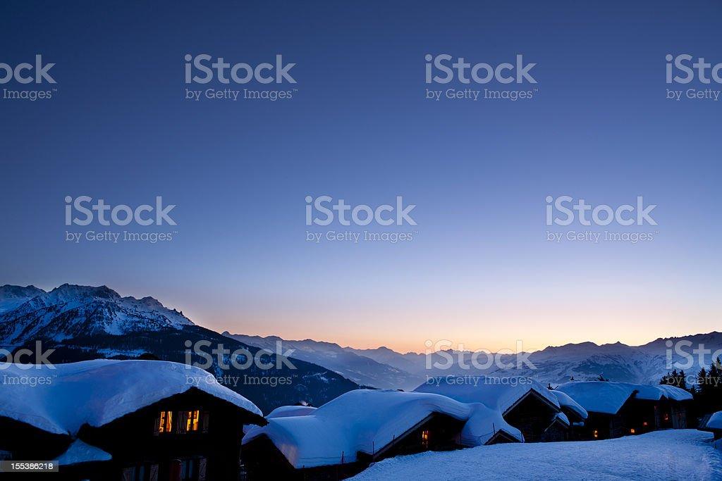 Winters sunset stock photo