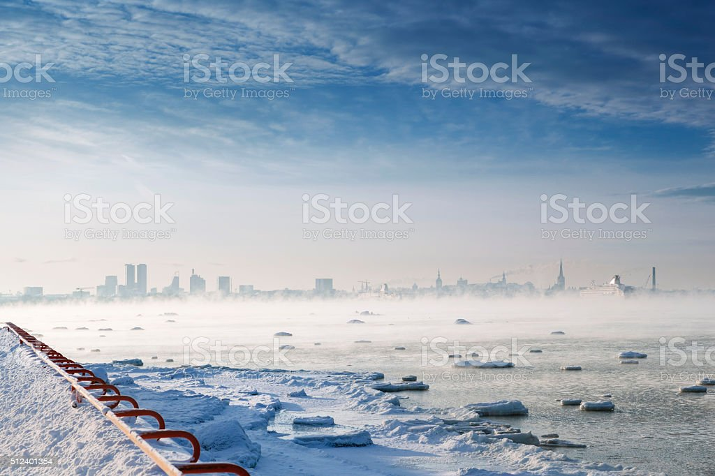 Winterscape in Tallinn stock photo