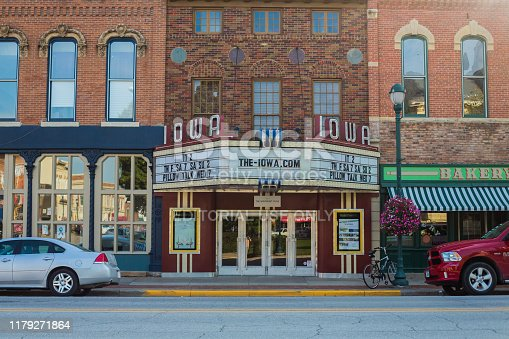 Winterset, United States - September 24, 2019. An old theater in the small town of Winterset has a population approximately 5000. It is a hub for tourism, however, with the Bridges of Madison County scattered around the town.