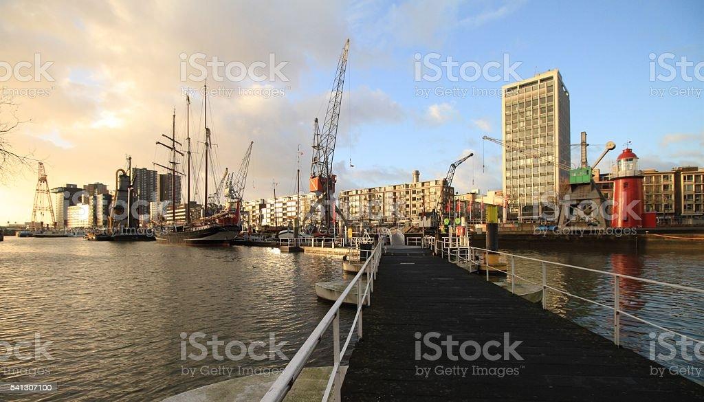 Winterstimmung im Rotterdamer Museumshafen stock photo