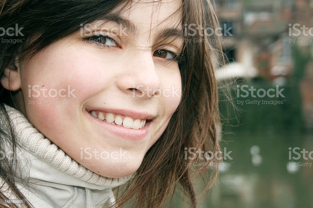 Wintertime Portrait of a Young Smiling Girl royalty-free stock photo