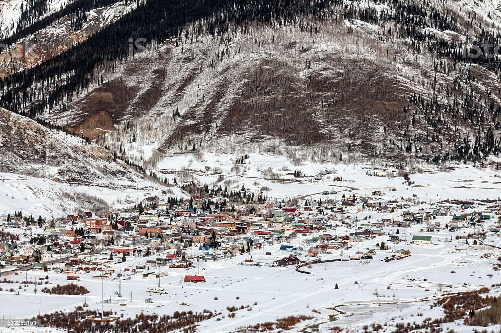 Wintertime Silverton down in a mountain valley stock photo