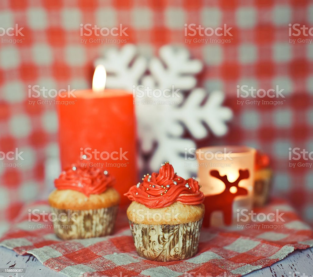 Wintery cupcakes to celebrate New Year royalty-free stock photo