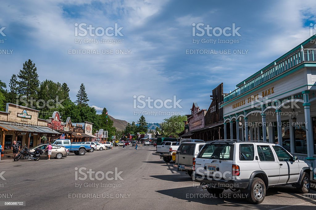 Winthrop Main Street with stores, people, cars, Washington State, stock photo
