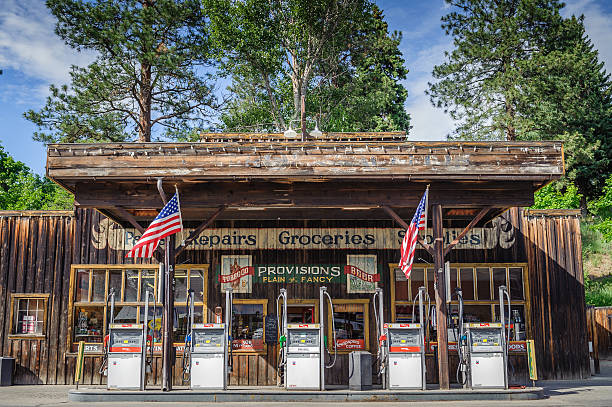 Winthrop western style gas station and store stock photo