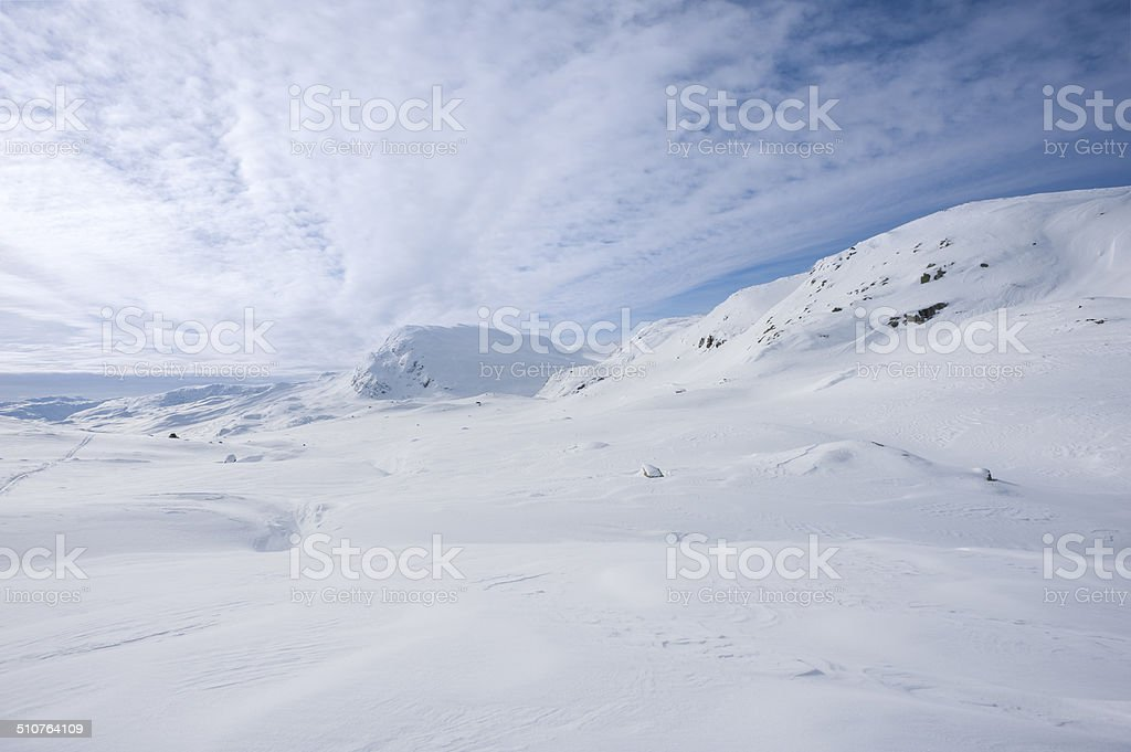 Wintry landscape at 2000 meters above sea in Jotunheimen royalty-free stock photo
