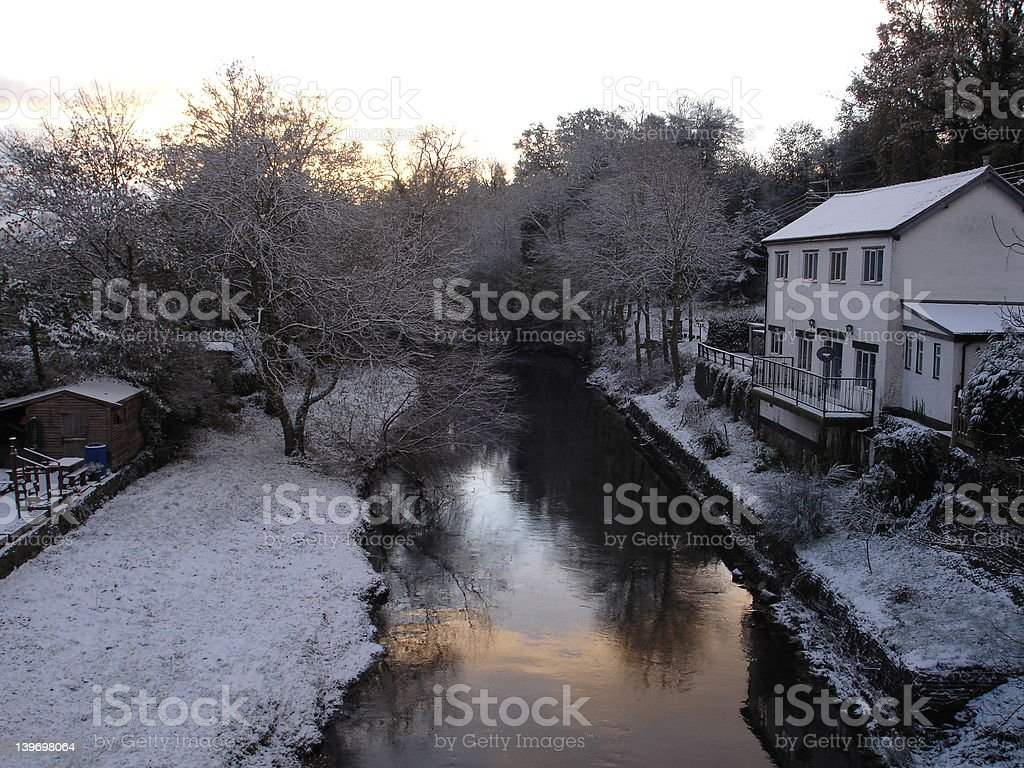 Wintry scene of a canal in Wales stock photo