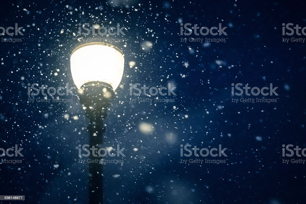 Wintry Street Lamp stock photo