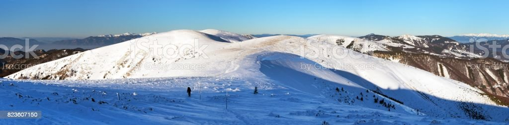 Wintry view from Velka Fatra mountains stock photo