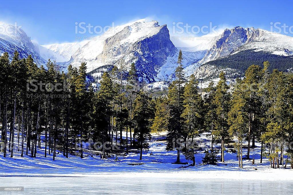 Wintry View of Hallett Peak stock photo