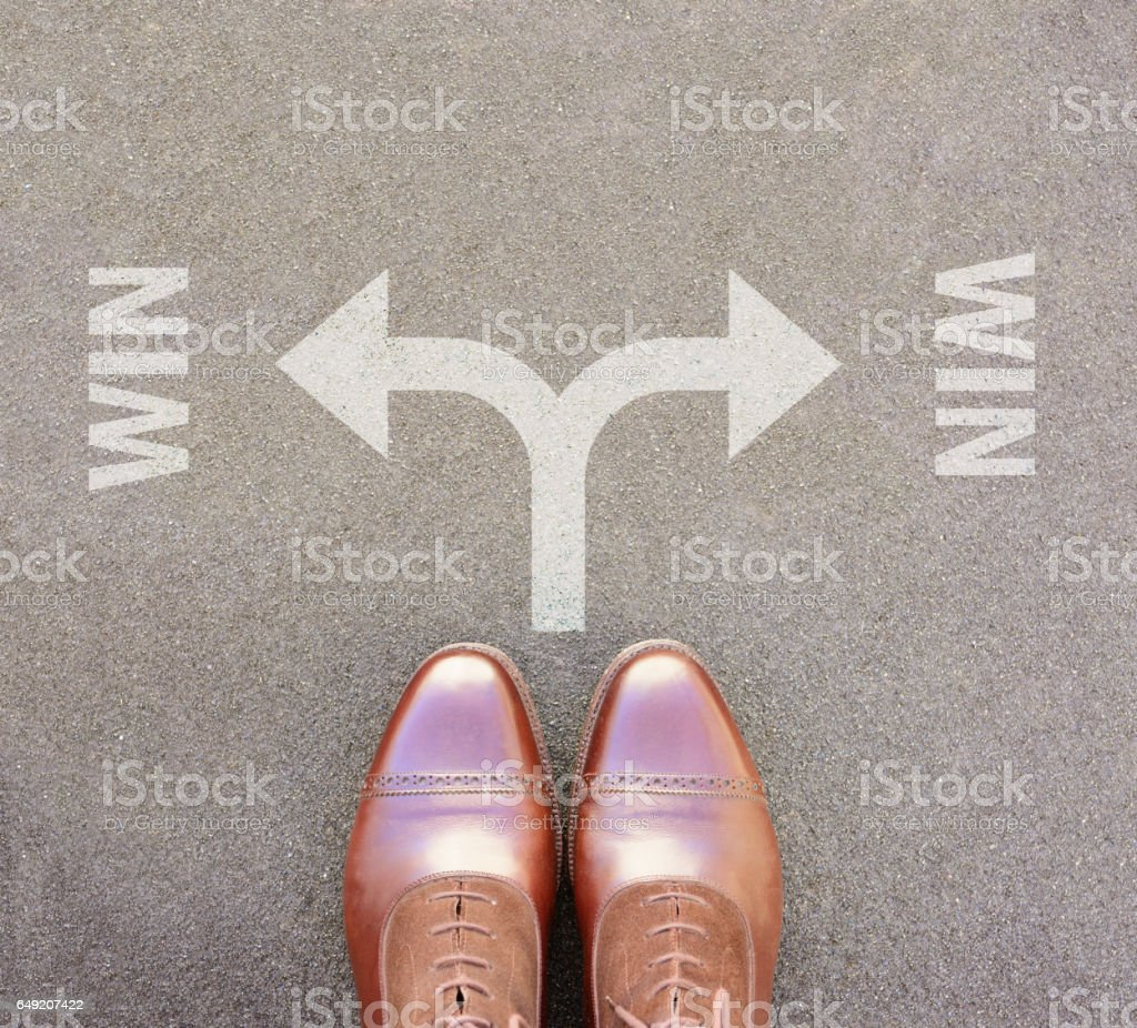 Win-win arrow choise,top view of perfect kept business shoes stock photo