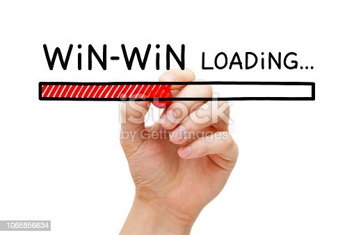 Hand drawing Win Win situation loading bar concept with marker on transparent glass board isolated on white.