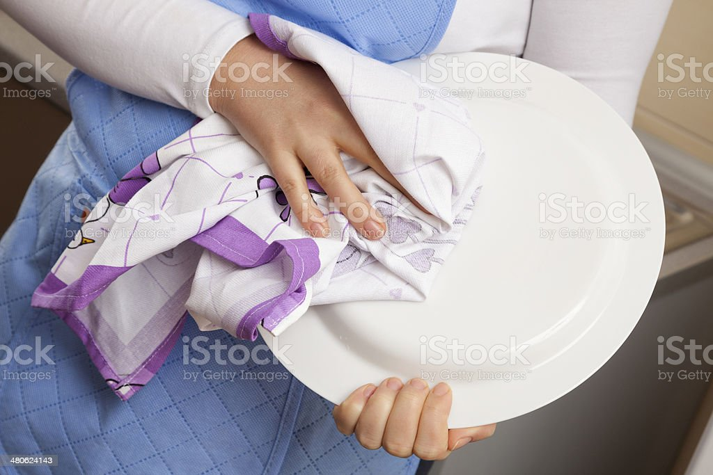 Wipe dishes royalty-free stock photo
