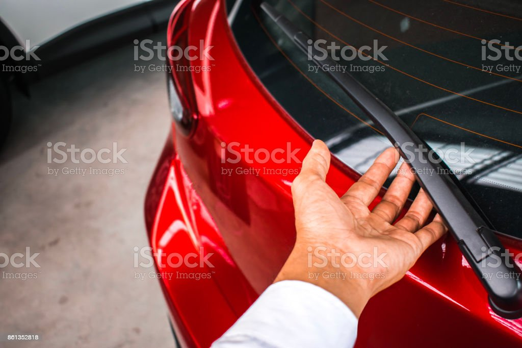 wiper car for customers. Using wallpaper or background for transport and automotive image stock photo