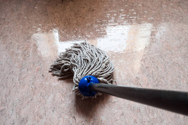 wiping floor by rope mop point-of-view shot of wiping floor by rope mop with reflection of the window in the wet floor linoleum stock pictures, royalty-free photos & images