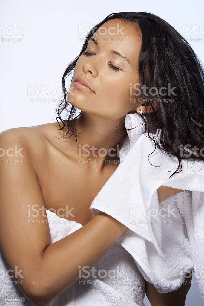 Wiping hairs after bathroom stock photo