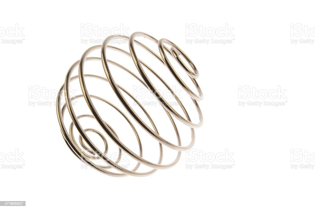 Wire curled ball side view stock photo