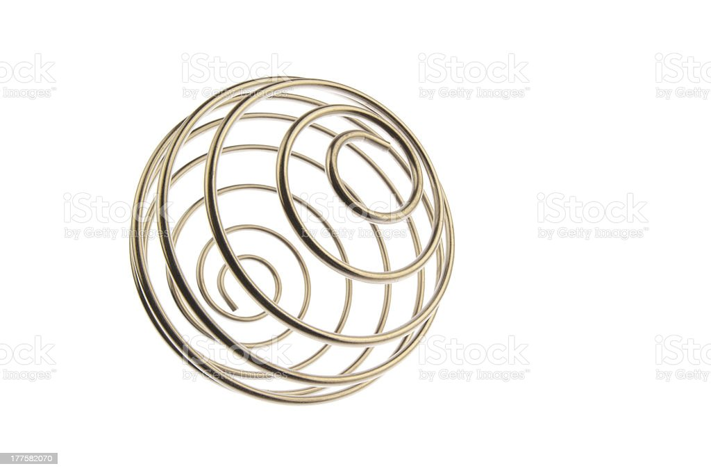 Wire curled ball tilted right stock photo