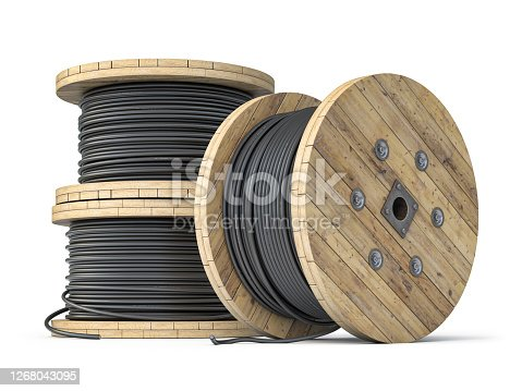 istock Wire electric cable on wooden coil or spool isolated on white background. 1268043095
